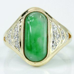 14k Gold Jade & Diamonds Ring